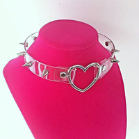 Clear Silver Spiked Heart Punk Choker Necklace - Your choice of large or small spikes!