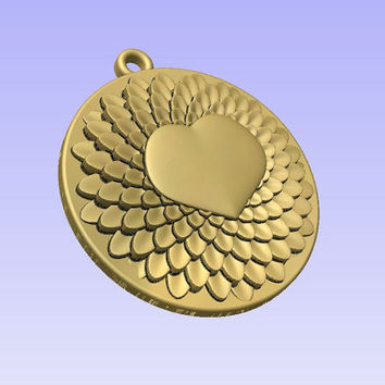Stl 3d models of ROUND HEART PENDANT for cnc carving vectric aspire cut3d artcam 3d printer