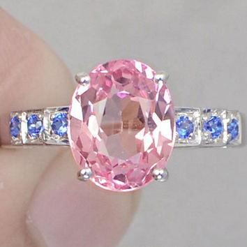 A Vintage Perfect 4.2CT Oval Cut Pink Sapphire & Round Diamond Cut Blue Aquamarine Promise Engagement Wedding Ring