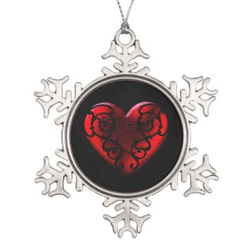 Filigree Goth Red Heart Snowflake Pewter Christmas Ornament