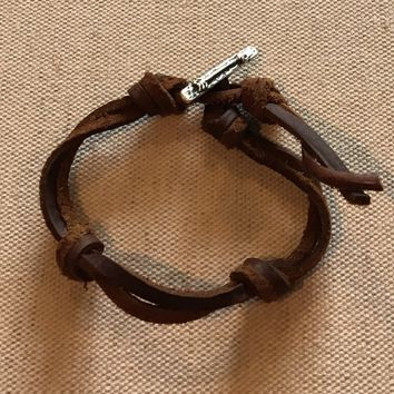 MyGodTags Latino Leather Knot Bracelet with Sterling Silver Arrow Bar