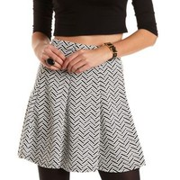 Textured Chevron Skater Skirt by Charlotte Russe