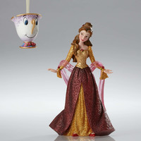 Disney Showcase Christmas Belle Figurine & Chip Holiday Ornament Set New