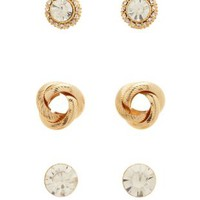 Gold 360 Stud & Post Earrings - 3 Pack by Charlotte Russe