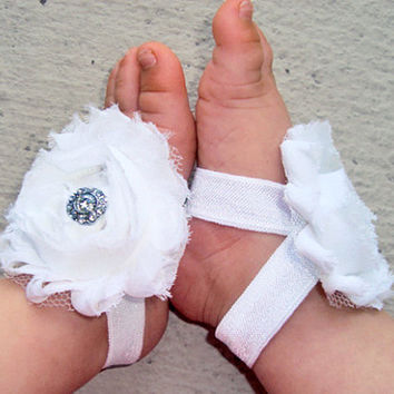 White Baby Shoes with Rhinestones - Baby Barefoot Sandals - Piggy Petals - Toe Blooms - Baby Sandals Baptism Shoes - Newborn Shoes