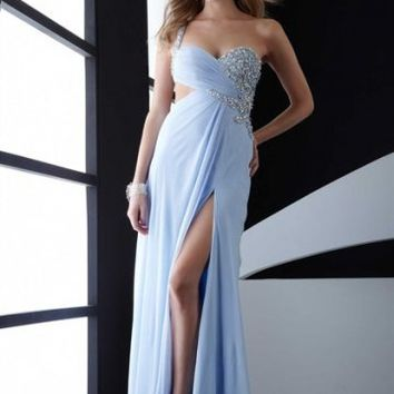 Side Slit One-shoulder Light Sky Floor-length Classic Prom Dress With Sequin 5051