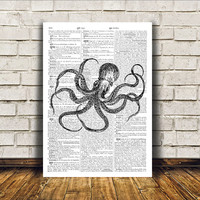Modern decor Octopus poster Nautical art Dictionary print RTA404