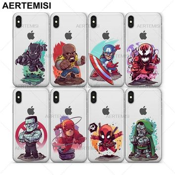 Deadpool Dead pool Taco Aertemisi Black Panther Luke Cage Captain America Carnage Colossus Clear TPU Case Cover for iPhone 5 5s SE 6 6s 7 8 Plus X AT_70_6