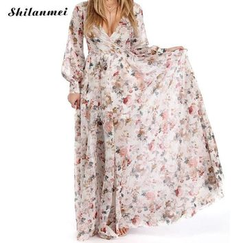 Beautiful Bohemian Floral Chiffon Maxi Dress