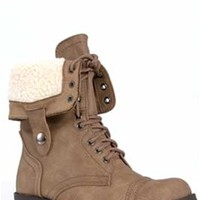 Gliks - Soda Shoes Oral Fleeced Lined Combat Boot in Tan ORAL-S-LT TAUPE
