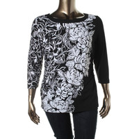 JM Collection Womens Petites Floral Print Embellished Blouse