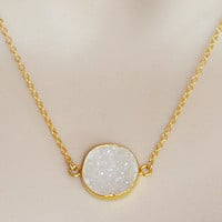 Natural Round White Druzy Gemstone Vermeil Gold or Sterling Silver bezel set necklace - Bridesmaid necklace, Weeding Jewelry