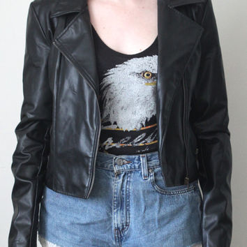 Vintage 90s Motorcycle Jacket // Asymmetrical Zipper // Cropped // Faux Leather // Black // Size Small Medium