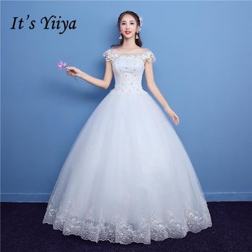 It's YiiYa Off White New O-Neck Short Sleeve Wedding Frock Appliques Embroidery Crystal Quality Lace Pattern Wedding Dresses D05
