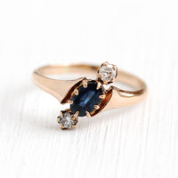 Sapphire & Diamond Ring - Vintage Size 5 10k Rose Gold Engagement Jewelry - Antique 1900s Victorian Three Stone Fine Anniversary Jewelry