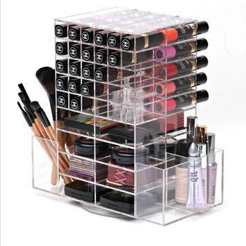 Luxe Spinning Lipstick Holder, Lipstick Tower, Acrylic Makeup Organizer, Make up Organizer, Makeup Brush Holder