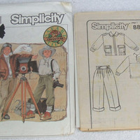 Sewing Pattern Simplicity 8821 Uncut Safari Adventure Club Boys Pants Pullover Knit Top and Unlined Jacket Size 8 DIY Costume Design