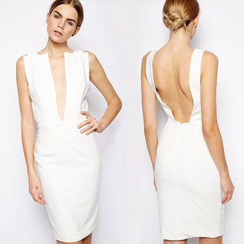 White Deep V-Neck Halter Backless Midi Dress