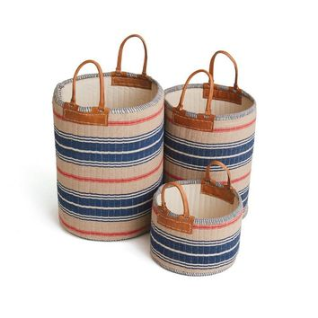 Admiral Linen Baskets - SET OF 3 OATMEAL/RED/NAVY