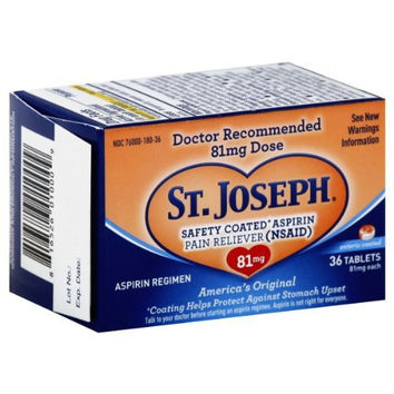 St. Joseph Safety Coated Aspirin Pain Reliever 81Mg Tablets - 36 Ea