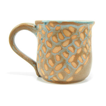 Decorative pottery mug - pastel coffee mug - rustic coffee cup - girly tea cup - ceramic mug - decorative pattern cup - clay mug - seafoam