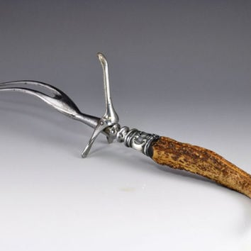 Antique Serving Fork - Genuine Stag Antler with Sterling Fitting