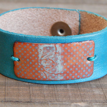 Leather floral ceramic cuff bracelet, boho leather cuff, turquoise leather bracelet, bohemian style, boho style, artisan, copper connector