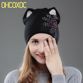 OHCOXOC New Design Women Beanies Skullies Cute Princess Girl Autumn Winter Hat Christmas Cap With Cat Ear Snowflakes Rhinestone
