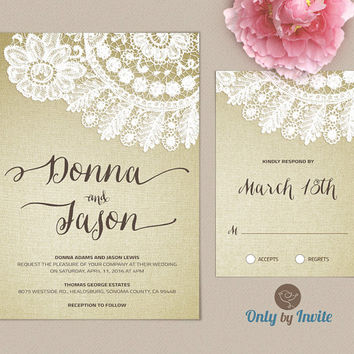 Burlap and Lace Rustic Wedding Invitation and RSVP Card Printed | Vintage white lace invite