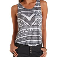 Ivory Combo Printed High-Low Pocket Tank Top by Charlotte Russe