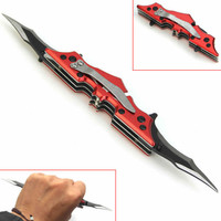 Red Outdoor Batman Two Dual Bladed Folding Knife Tool The Dark Knight
