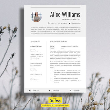 "Resume Template | Creative Resume Template | Two Page Professional Resume + Cover Letter & Advice | Printable Word Resume | The ""Finsbury"""