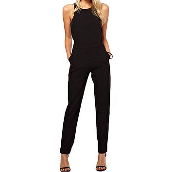 EAS 2016 summer sexy women Jumpsuit Romper lady Sleeveless bodysuit playsuit womens Black Trousers long pants in womens clothes
