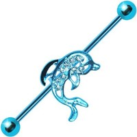 Body Candy Blue Anodized Steel Blue Accent Paved Dolphin Industrial Barbell 14 Gauge 38mm
