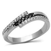 Celestial - Tri-split band multiple CZ black and white diamond-cut stones silver stainless steel ring
