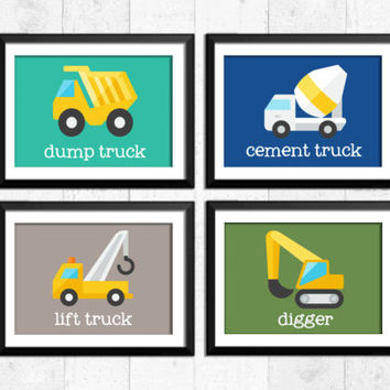 Trucks, transportation, boy art prints, construction decor, construction art, baby nursery decor, kid art, nursery print, trucks art, A-4006