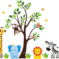 "Nursery Room Decor, Nursery Wall Decals, Safari and Jungle Animals, Blue Elephant Decal, Lion Decal, Zebra Decal, Removable - 83"" x 97"""