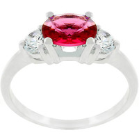 Oval Quartet Cubic Zirconia Ring, size : 09