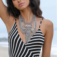 Cold As Ice Silver Statement Necklace