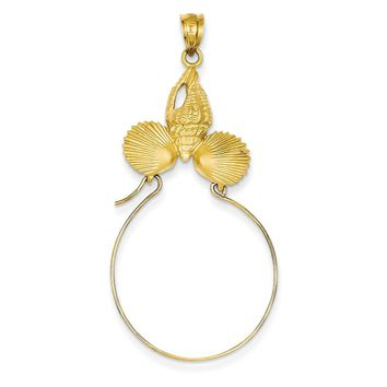 14k Yellow Gold Sea Shell Charm Holder