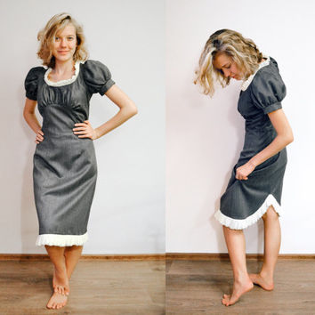 Rich Shimmer Grey Pencil Dress Adjustable Short + Long Sleeve / Ruffled Tulip Skirt