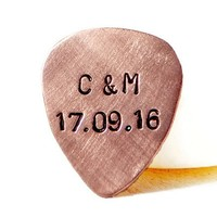Personalized Hand Stamped Copper Guitar Pick.
