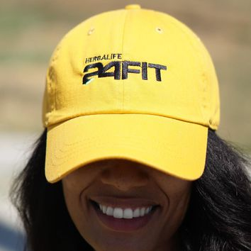 Herbalife 24 FIT polo dad hat, gold w/black