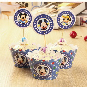 24Pcs Paw dog Puppy dog Mickey mouse minnie mouse Cupcake Wrappers And Toppers Kids Birthday Party Decor Baby Shower Supplies