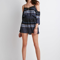 Ikat Print Open-Shoulder Romper