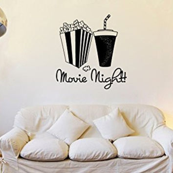 Movie Night with Popcorn and Soda Vinyl Wall Words Decal Sticker Graphic