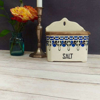 Salt Cellar/ Vintage Salt Cellar/ Salt Box/ Czech Canister/ Czech Pottery/ Vintage Salt Box/ Blue and White Ceramic/ Vintage Kitchen Decor