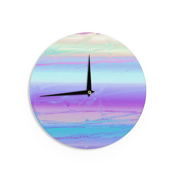 "Nina May ""Drip Dye Cool"" Pastel Blue Wall Clock"