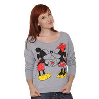 Disney Mickey & Minnie Mouse Love Kiss Gray Long Sleeve Sweater Top Shirt