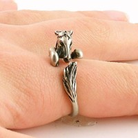 Animal Wrap Ring - Horse - White Bronze - Adjustable Ring - Keja Jewelry